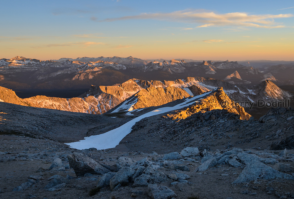 Looking South across Yosemite National Park from near the 12,590' summit of Mt. Conness, High Sierra, California