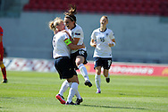 England's Melissa Lawley (12) celebrates after she scores the 1st goal. UEFA Womens U19 Championships 2013 match, Wales v England at Parc y Scarlets in Llanelli on Thursday 22nd August 2013. pic by Andrew Orchard ,Andrew Orchard sports photography,