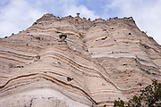 """Cave Loop Trail. See fantastic hoodoos and a great slot canyon in Kasha-Katuwe Tent Rocks National Monument, in New Mexico, USA. Hike the easy Cave Loop Trail plus Slot Canyon Trail side trip (3 miles round trip), 40 miles southwest of Santa Fe, on the Pajarito Plateau. Distinctive cone-shaped caprocks protect soft pumice and tuff beneath. Geologically, the Tent Rocks are made of Peralta Tuff, formed from volcanic ash, pumice, and pyroclastic debris deposited over 1000 feet thick from the Jemez Volcanic Field, 7 million years ago. Kasha-Katuwe means """"white cliffs"""" in the Pueblo language Keresan. This panorama was stitched from 3 overlapping photos."""