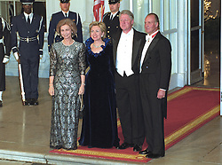 United States President Bill Clinton, right center, and first lady Hillary Rodham Clinton, left center, pose on the North Portico of the White House in Washington, D.C. with King Juan Carlos I, right, and Queen Sofia, left, of Spain prior to a State Dinner on February 23, 2000. Photo by Ron Sachs/CNP/ABACAPRESS.COM