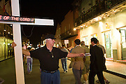 19 SEPTEMBER 2006 - NEW ORLEANS, LOUISIANA: PAUL GROS, from the Vieux Carre Assembly of God Church in the French Quarter preaches on Bourbon Street in New Orleans. Photo by Jack Kurtz / ZUMA Press