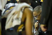 Feb 16, 2013; Fayetteville, AR, USA; Missouri Tigers coaches during a time out at a game against the Arkansas Razorbacks at Bud Walton Arena. Arkansas defeated Missouri 73-71. Mandatory Credit: Beth Hall-USA TODAY Sports