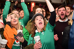 Irish fans in the Cabbage Patch pub in Twickenham, London watch the first half of the Six Nations rugby match between Ireland and England.