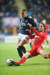 Falkirk's Taylor Morgan and Rangers Bilel Moshsni. Falkirk 1 v 1 Rangers, Scottish Championship game played 27/2/2014 at The Falkirk Stadium .