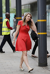 © Licensed to London News Pictures. 25/06/2017. London, UK. Camden Couincil leader GEORGIA GOULD speaks to media outside Swiss Cottage Leisure Centre, where residents of the Chalcots Estate tower blocks have been staying in Camden, London on Sunday, 25 June 2017. The Camden Council ordered the evacuation of the towers but there are many residents refusing to leave even though the cladding of the buildings failed the fire safety test. Photo credit: Tolga Akmen/LNP