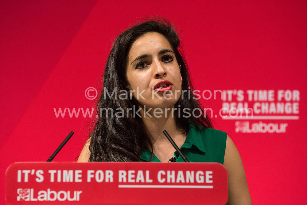 London, UK. 13 November, 2019. Sonia Adesara, NHS doctor and National Medical Director's Clinical Fellow, addresses a press conference before Shadow Chancellor John McDonnell and Shadow Health Secretary Jonathan Ashworth unveil a Labour Party 'rescue plan' for the National Health Service (NHS) including a pledge of a £26bn p.a. real-terms increase in budget by 2023/24, to be funded by increased taxation on companies and the wealthiest in society. This pledge would give the NHS £5.5bn more per year than promised by the Conservative Party.