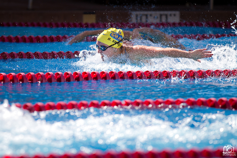 "Danielle Smyth finished the 100 yard butterfly in 1:00.63 against Stanford, Sept. 30, 2011, at the Avery Aquatics Center, Stanford University, Palo Alto, Calif.  San Jose State's women's swimming and diving team opened the season strong against Stanford, only trailing by 43 points.  ""This is by far the best start we've ever had here,""  said San Jose State head coach, Sage Hopkins.  The Spartans fell to Stanford 167-125. (Stan Olszewski/Spartan Daily)"