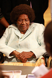 Albertina Sisulu, widow of anti-apartheid activist Walter Sisulu before casting her vote for South Africa's fourth democratic elections at Linden High School in Johannesburg, Tuesday, 21 April 2009. Special voting days were allocated by the Independent Electoral Commission to assist people who cannot vote on<br />Wednesday due to health, travel or other reasons. Some 84,000 people applied to vote during two days<br /> of special voting this week for the sick, the elderly, the incapacitated and people who will find<br /> themselves outside their voting areas on election day.Soldiers, election officials and some police officers are also allowed to vote early.<br />Picture: Werner Beukes/SAPA