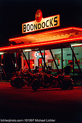Boondocks. Black Hills, SD. 1997<br /> <br /> Limited Edition Print from an edition of 50. Photo ©1997 Michael Lichter.<br /> <br /> The Story: I came across Boondocks late one night in the hills.  Riding around a corner in the middle of nowhere, the beautiful neon appeared in the distance.  A burger and shake called.