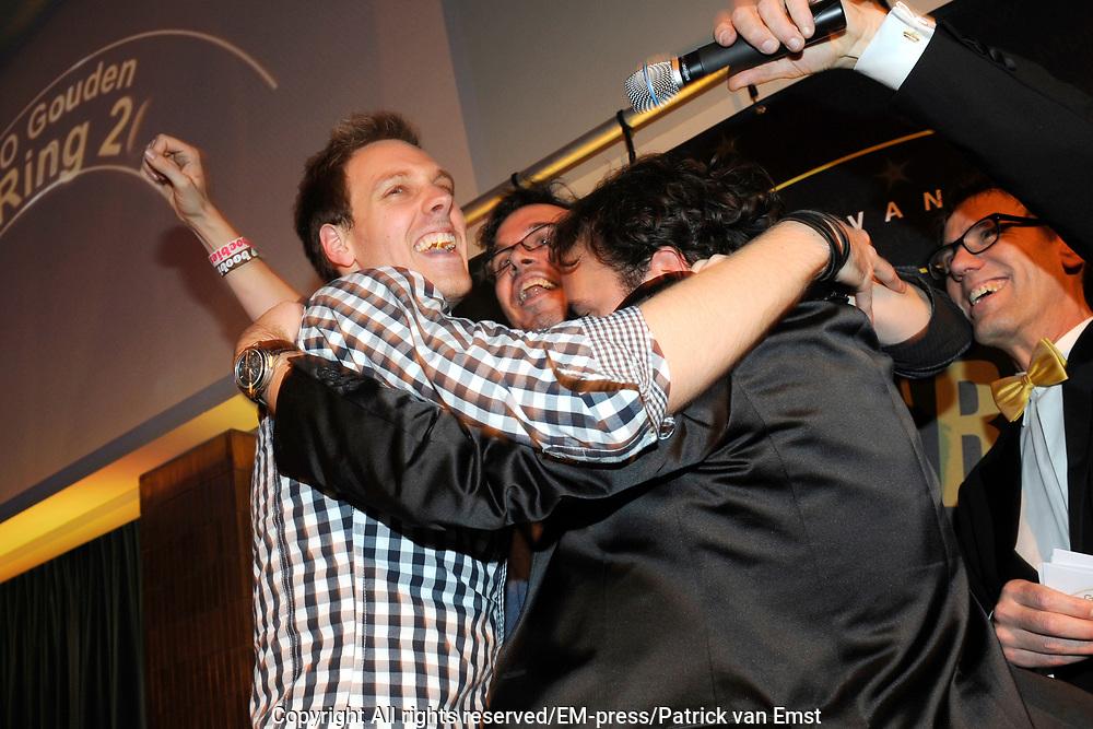 AVRO Radiogala 2011 in het Stadhuis van Hilversum.<br /> <br /> Op de foto:  Michiel Veenstra, Tjitse Leemhuis en Gerard Ekdom hebben de AVRO Gouden RadioRing 2011 gewonnen met hun programma Ekstra Weekend van NTR3FM.