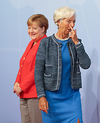 German Chancellor Angela Merkel welcomes Managing Director of the International Monetary Fund (IMF) Christine Lagarde during the G20 summit in Hamburg, Germany.