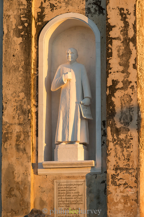 Detail of a priest statue, Guadalupe Church, Granada, Nicaragua