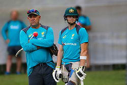 Australia's Steve Smith and coach Darren Lehman during a nets session at the Adelaide Oval, Adelaide.