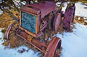 Vintage John Deere tractor on ranch in eastern Wyoming