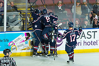 KELOWNA, BC - FEBRUARY 12: The Tri-City Americans celebrate a goal against the Kelowna Rockets at Prospera Place on February 8, 2020 in Kelowna, Canada. (Photo by Marissa Baecker/Shoot the Breeze)