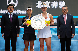 October 7, 2018 - Yifan Xu of China & Gabriela Dabrowski of Canada during the trophy ceremony after the doubles final of the 2018 China Open WTA Premier Mandatory tennis tournament (Credit Image: © AFP7 via ZUMA Wire)