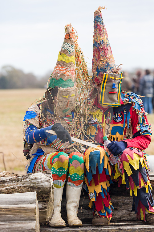 Costumed revelers during the Faquetigue Courir de Mardi Gras chicken run on Fat Tuesday February 17, 2015 in Eunice, Louisiana. The traditional Cajun Mardi Gras involves costumed revelers competing to catch a live chicken as they move from house to house throughout the rural community.