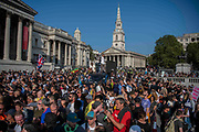 "Police clashed and arrested protestors during a ""Resist and Act for Freedom"" protest against a mandatory coronavirus vaccine, wearing masks, social distancing and a second lockdown, nearby Canada House in Trafalgar Square, London on Saturday, Sept. 19, 2020. The event, which began at noon, drew a broad coalition including coronavirus sceptics, 5G conspiracy theorists and so-called ""anti-vaxxers"". Speakers at the event accused the government of attempting to curtail civil liberties. (VXP Photo/ Erica Dezonne)"