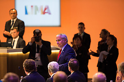 LIMA, Sept. 16, 2017  International Equestrian President Ingmar De Vos (C) stands up after being elected as International Olympic Committee (IOC) member during the 131st IOC session in Lima, Peru, on Sept. 15, 2017. The 131st IOC session concluded on Friday. (Credit Image: © Li Ming/Xinhua via ZUMA Wire)