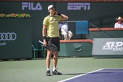 March 15, 2019 - Indian Wells, CA, U.S. - INDIAN WELLS, CA - MARCH 15: Hubert Hurkacz (POL) reacts to a point during the BNP Paribas Open on March 15, 2019 at Indian Wells Tennis Garden in Indian Wells, CA. (Photo by George Walker/Icon Sportswire) (Credit Image: © George Walker/Icon SMI via ZUMA Press)