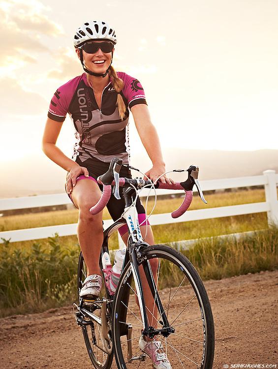 Ryann Fraser and her road bike on the backroads of Boulder, Colorado.