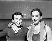 14/01/1953<br /> 01/14/1953<br /> 14 January 1953<br /> Corinthians Boxing Club, Dublin. Left is Colm Kilmartin, Lightweight and right is Fergus Kilmartin Light Middleweight.