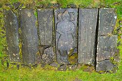 Old gravestones in Kildalton Parish church on Islay, Inner Hebrides, Scotland UK