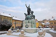 Statue of Dobo in Dobo Square in the snow - Eger - Hungary .<br /> <br /> Visit our HUNGARY HISTORIC PLACES PHOTO COLLECTIONS for more photos to download or buy as wall art prints https://funkystock.photoshelter.com/gallery-collection/Pictures-Images-of-Hungary-Photos-of-Hungarian-Historic-Landmark-Sites/C0000Te8AnPgxjRg