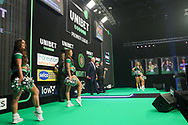 The stage at the Premier League Darts at Marshall Arena, Milton Keynes, United Kingdom on 5 April 2021.