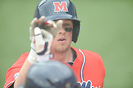 Ole Miss' Preston Overbey (1) hits a solo home run vs. Lipscomb at Oxford-University Stadium in Oxford, Miss. on Sunday, March 10, 2013. Ole Miss won 9-8. The Rebels improve to 16-1.