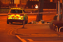 © Licensed to London News Pictures. 24/12/2018. Bromley, UK.First aid bags on the ground inside cordon, Christmas eve stabbing in Bromley,South East London tonight, victim is said to be in a serious condition. Police cordons in place at the scene. Photo credit: Grant Falvey/LNP