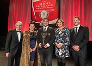 Harepaora Ngaheu (Ngāti Awa, Te Whānau-ā-Apanui) 26, Acting Manager on a dairy farm near Te Teko was  named Ahuwhenua Young Māori Farmer Award for Dairy 2018  - Awards dinner - Ahuwhenua Trophy BNZ Maori Excellence in Farming Award, 25 May 2018. Photo by John Cowpland / alphapix