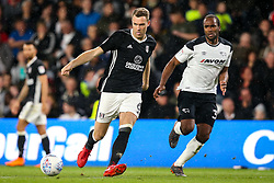 Kevin McDonald of Fulham takes on Cameron Jerome of Derby County - Mandatory by-line: Robbie Stephenson/JMP - 11/05/2018 - FOOTBALL - Pride Park Stadium - Derby, England - Derby County v Fulham - Sky Bet Championship