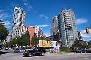 Downtown intersection and new condominium construction, Vancouver, BC