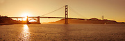Panorama of the famed Golden Gate bridge across the mouth of San Francisco Bay( 3:1 proportion) photographed in multi-image sequence to produce extremely large file sizes for wall murals up to 30 ft x 10 ft.