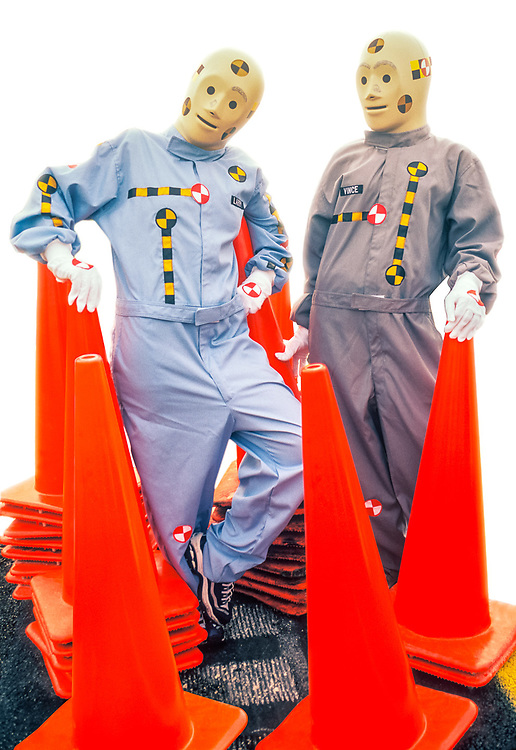 Crash Dummies, take a timeout to pose with highway safety cones.