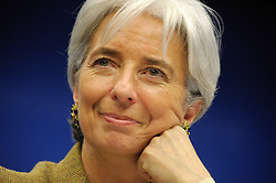 Christine Lagarde, France's finance minister, smiles during a news conference following the the meeting of EU economic and finance ministers, in Brussels, Belgium, on Tuesday, Dec. 2, 2008. (Photo © Jock Fistick)