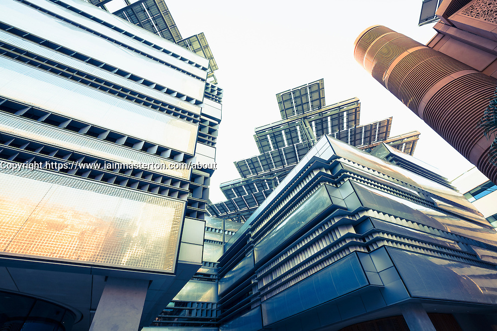 Architectural detail of modern buildings with solar panels on roof at Institute of Science and Technology at Masdar City in Abu Dhabi United Arab Emirates