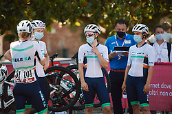 Équipe Paule Ka wait for the team presentation at Strade Bianche - Elite Women 2020, a 136 km road race starting and finishing in Siena, Italy on August 1, 2020. Photo by Sean Robinson/velofocus.com