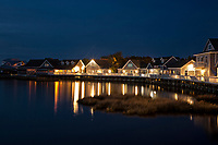 NC01266-00...NORTH CAROLINA - Lights along the boardwalk traversing the shores of Currituck Sound at tourist oriented town of Duck.