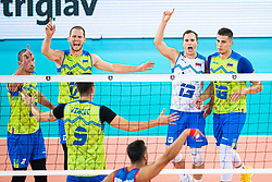 Players of Slovenia celebrating point during friendly volleyball match between Slovenia and Serbia in Arena Stozice on 2nd of September, 2019, Ljubljana, Slovenia. Photo by Grega Valancic / Sportida