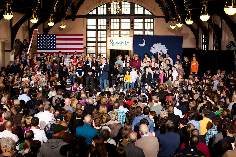 Many people showed up at McBryde Hall on the Winthrop Campus to support Mitt Romney days before the primary.
