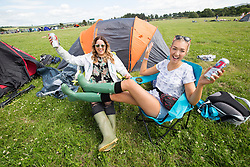 Philipa Watson and Eve Convery. The first campers arrive at T in the Park 2016.