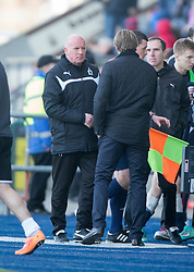 Falkirk's manager Peter Houston  and Hearts Head Coach Robbie Neilson at the end.<br /> Falkirk 0 v 3 Hearts, Scottish Championship game played 21/3/2015 at The Falkirk Stadium.