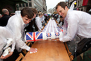 "London, United Kingdom. June 3rd 2012..Queen Elizabeth II Diamond Jubilee 1952-2012.Preparation of the ""Big Lunch"" on Piccadilly"