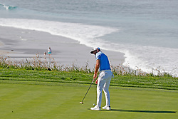 June 11, 2019 - Pebble Beach, CA, U.S. - PEBBLE BEACH, CA - JUNE 11: PGA golfer Dustin Johnson putts on the 9th hole during a practice round for the 2019 US Open on June 11, 2019, at Pebble Beach Golf Links in Pebble Beach, CA. (Photo by Brian Spurlock/Icon Sportswire) (Credit Image: © Brian Spurlock/Icon SMI via ZUMA Press)