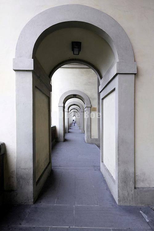 perspective view through a long corridor