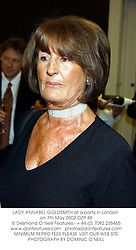 LADY ANNABEL GOLDSMITH at a party in London on 7th May 2002.OZP 48