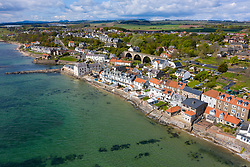 Aerial view of village of Lower Largo in Fife, Scotland, UK