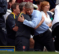Photo: Daniel Hambury.<br />Arsenal v Wigan Athletic. The Barclays Premiership. 07/05/2006.<br />Arsenal's manager Arsene Wenger celebrates victory, and reaching the Champions League.